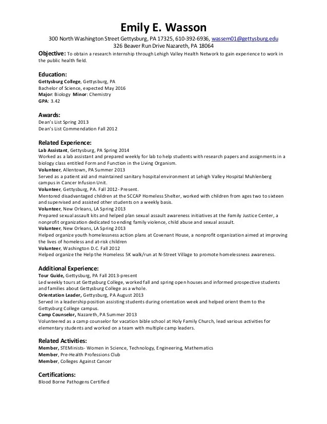 research internship resumes - Doritmercatodos - resume for internship