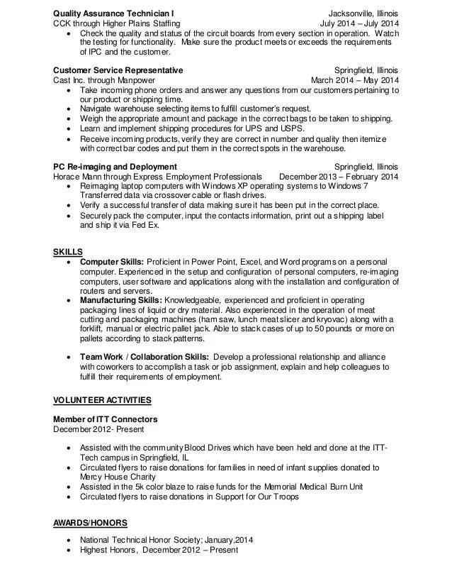 quality assurance technician resumes - Kenicandlecomfortzone