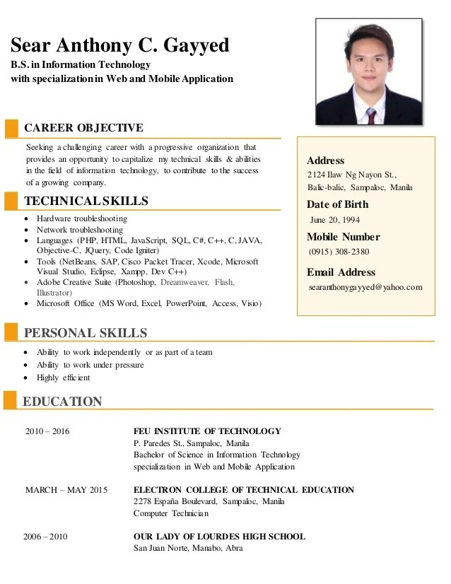 resume career objective information technology