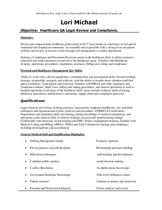 resume for medical field
