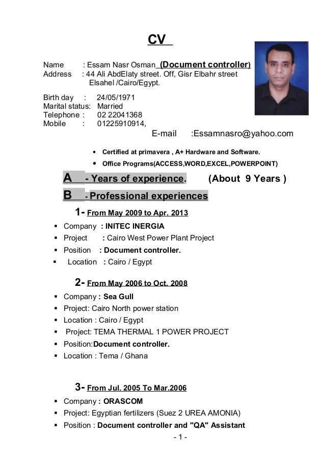 Resume Template Free Online Pdf And Word Doc Cv Builder Essam Nasr Cv Document Controllerdoc