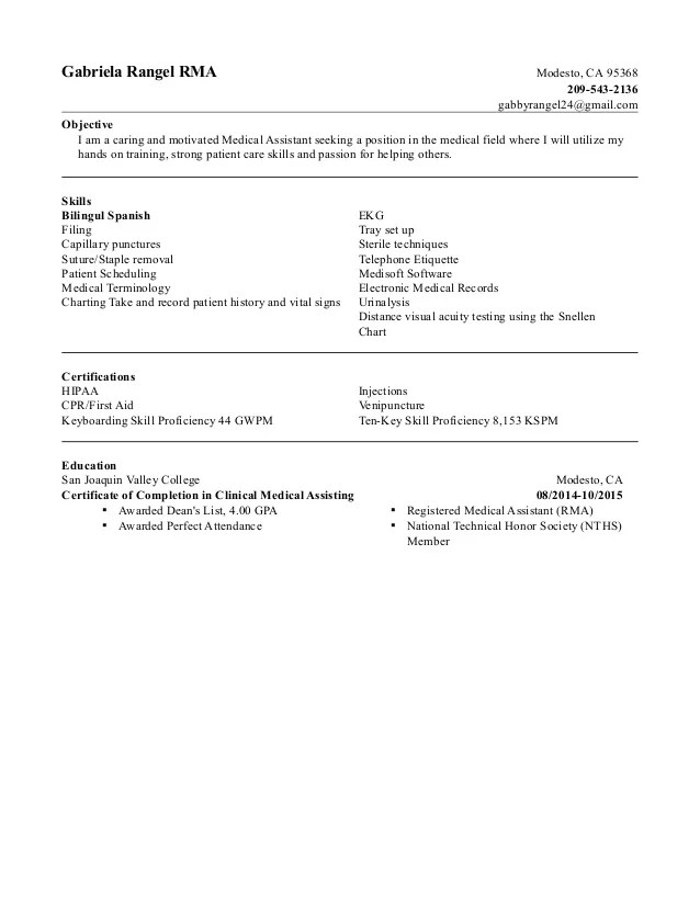 clinical medical assistant resume - Onwebioinnovate