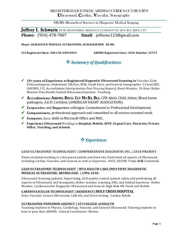 resume templates ultrasound technician - Ultrasound Resume