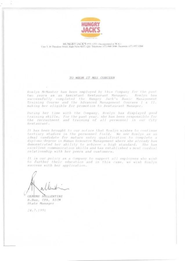 resume reference letter for job