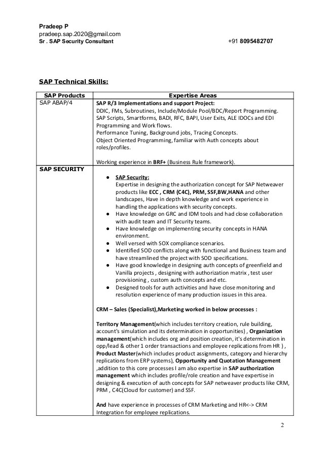 sap consultant resume - Kubreeuforic