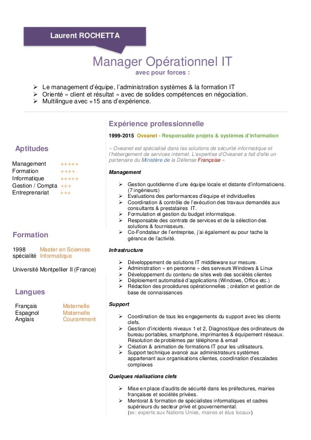 exemple cv manager d equipe