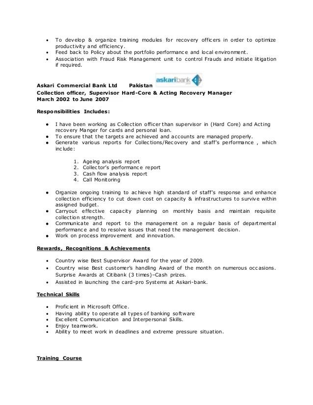 sample resume john doe - Onwebioinnovate - bank collection officer sample resume