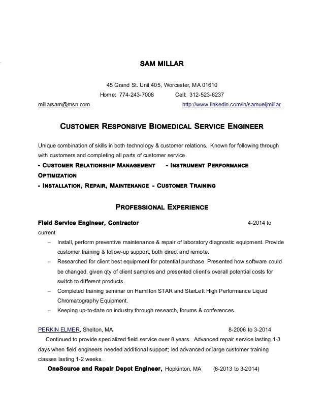 service engineer resume - Josemulinohouse