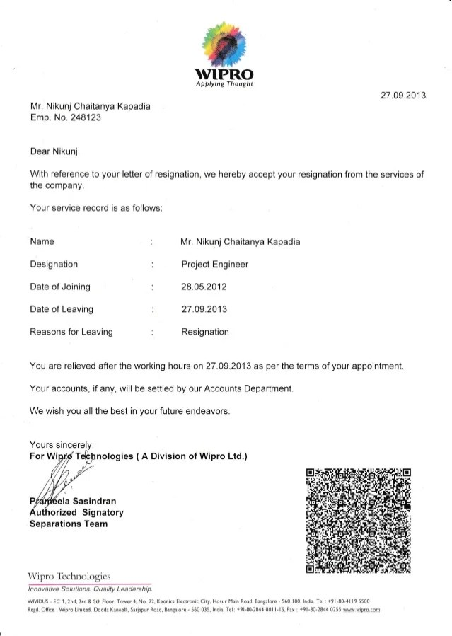 Engineering Work Experience Letter Allaboutcareers Wipro Experience Letter