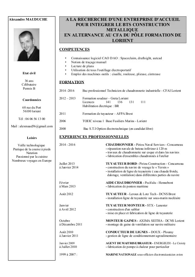cv alternance avec photo
