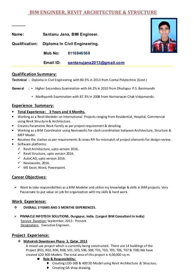revit resume sample