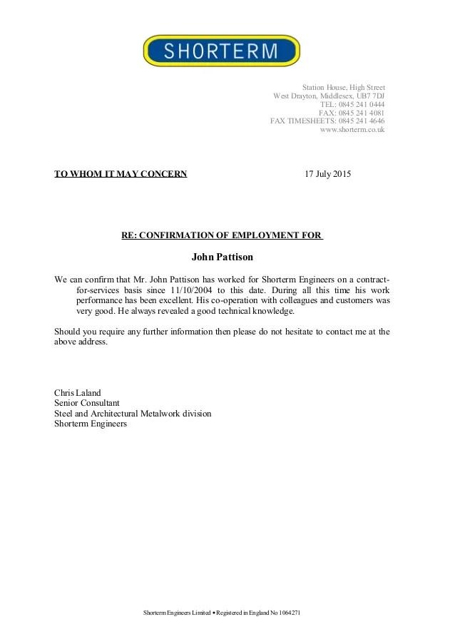confirming employment - Selomdigitalsite