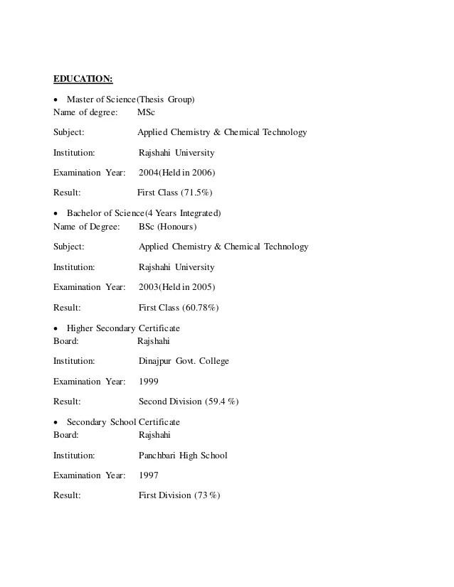chemistry resumes - Pinarkubkireklamowe