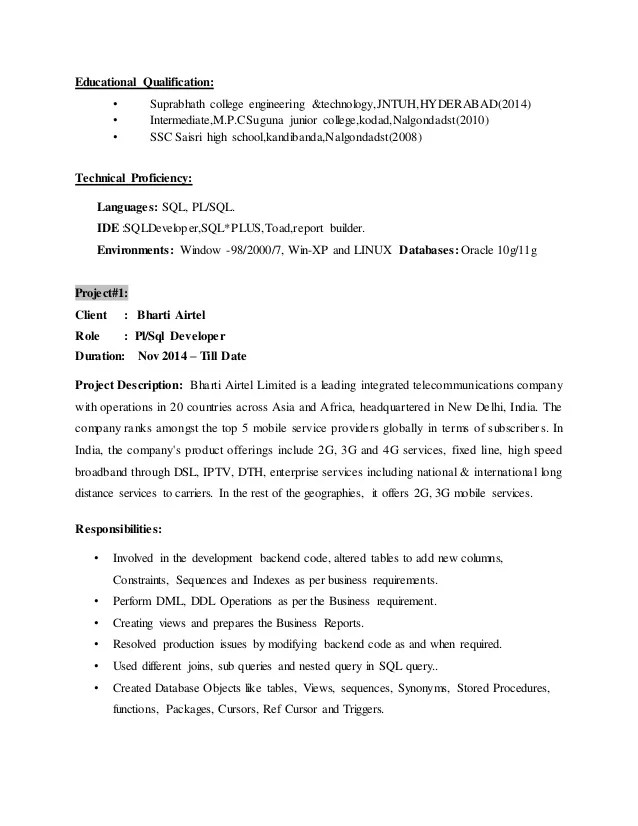 Sql Developer Resume India Vosvetenet – Sql Developer Resume Sample