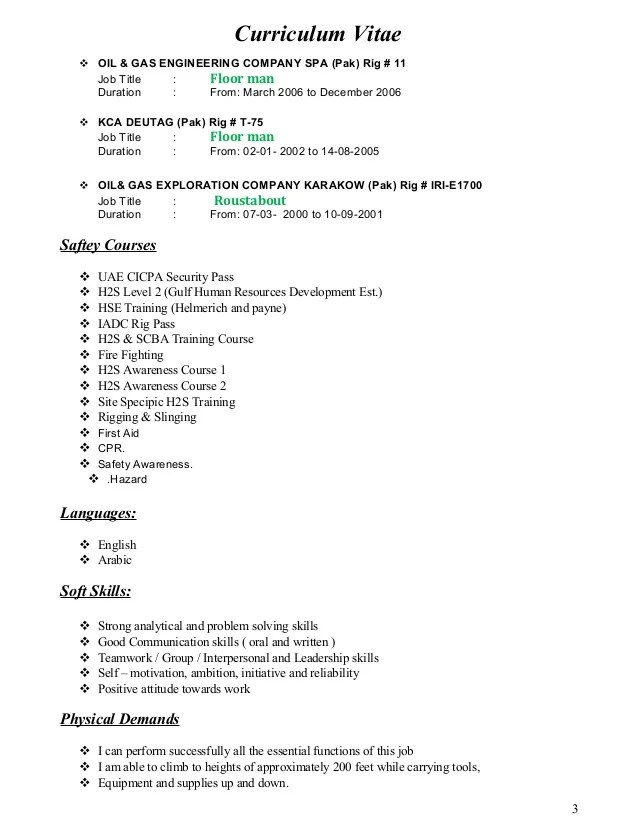 roustabout resume sample