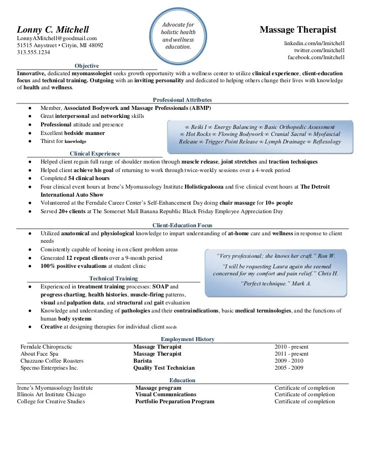 Massage Therapist Resume. Accountant Resume Examples Samples ...