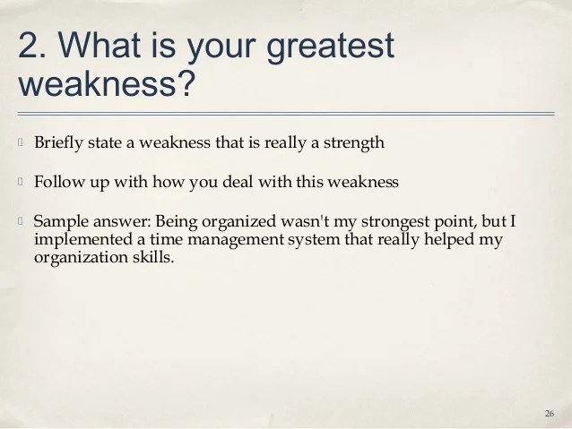 list of weaknesses for job interviews - thelongwayup.info