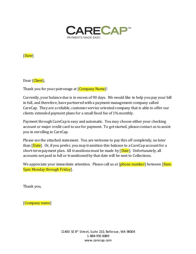 Thank You Letter Samples Carecap 90 Day Past Due Letter Generic