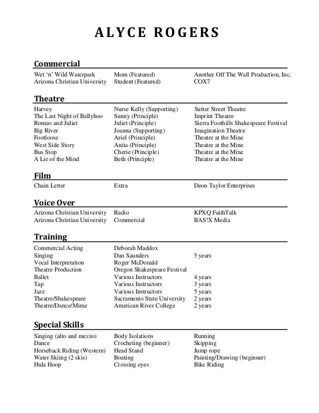 theatre production resume sample