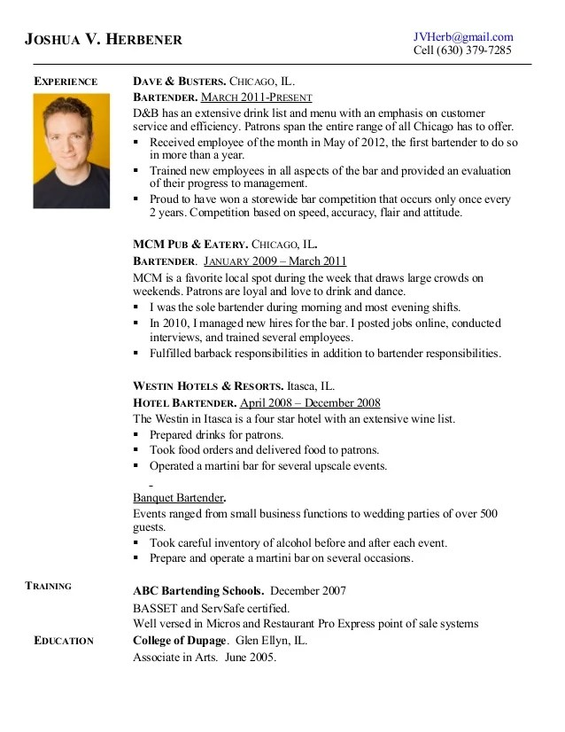 Examples Of Bartending Resumes  Resume Examples And Free Resume