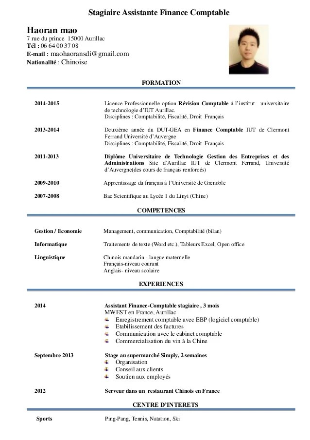modele cv stagiaire expert comptable