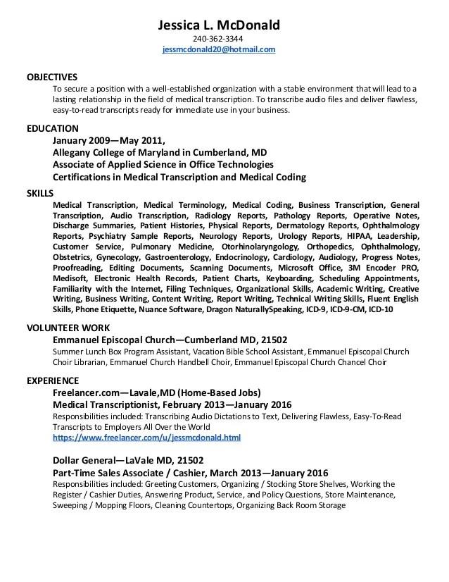 Home Resumewonders Medical Transcriptionist Resume