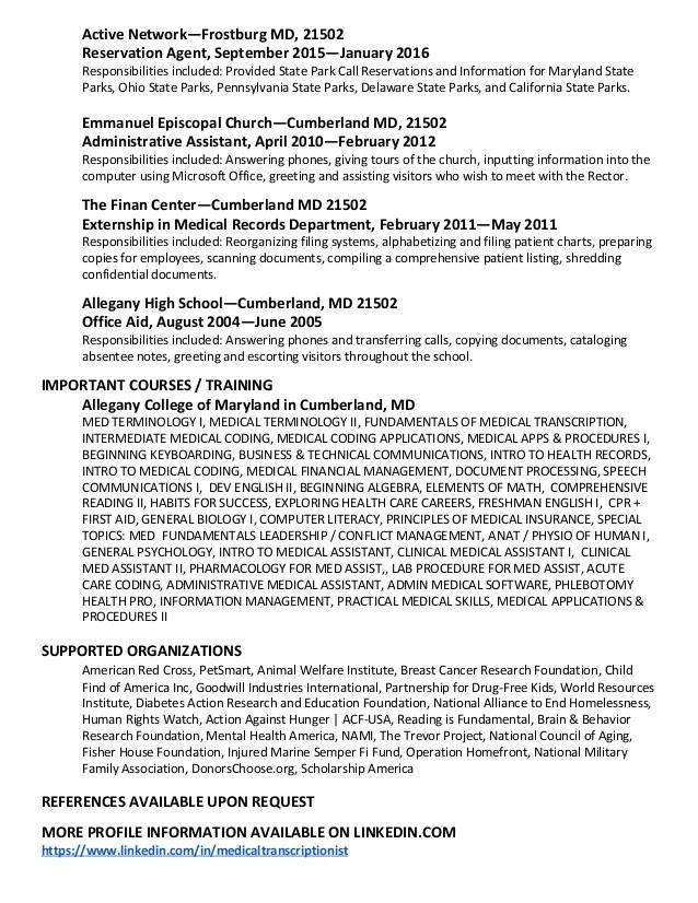 transcription audio sample resume
