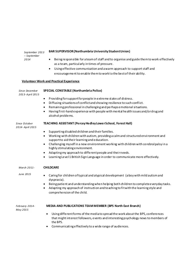 psychology cv - Minimfagency