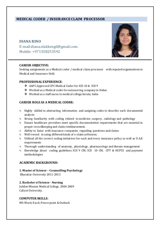 resume sample of medical coder