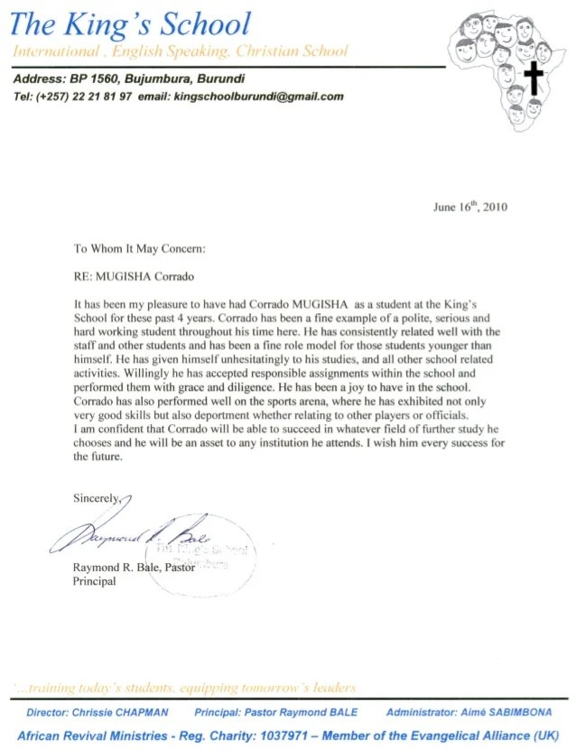 pastor recommendation letter for school