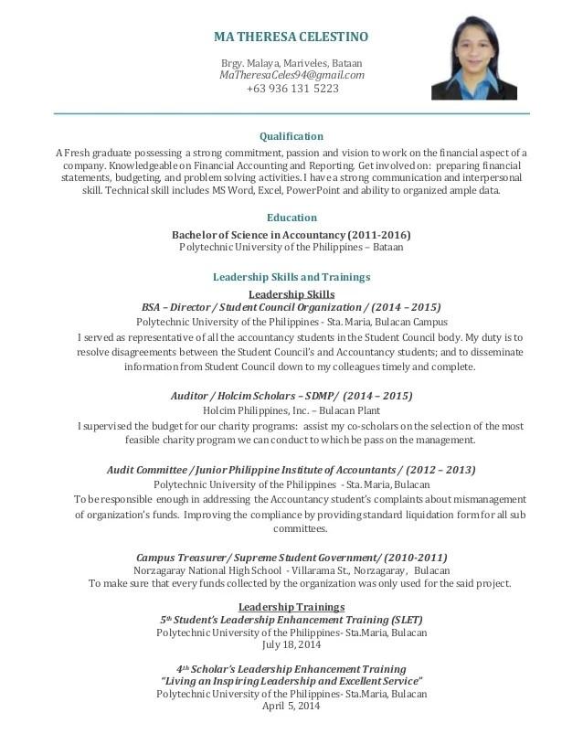 Sample Of Resume For Fresh Graduate Accountant jobs180 resume best