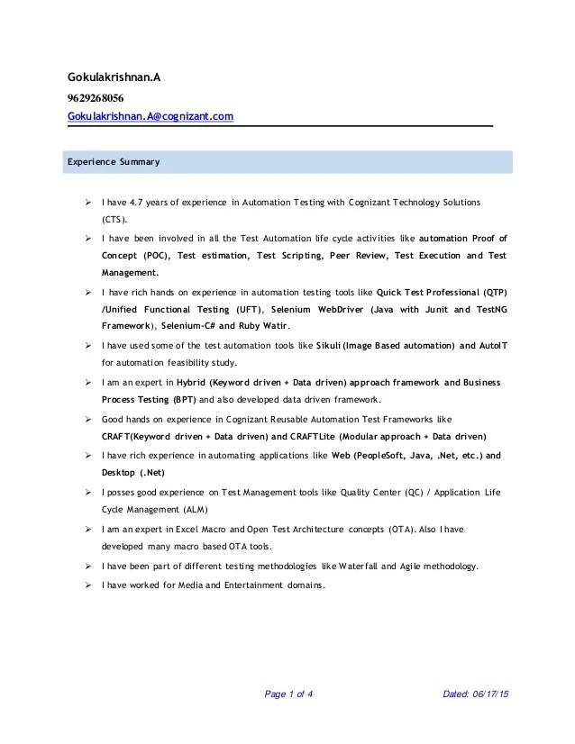 resume upload in cognizant