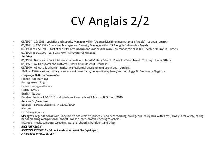 cv anglais logistic