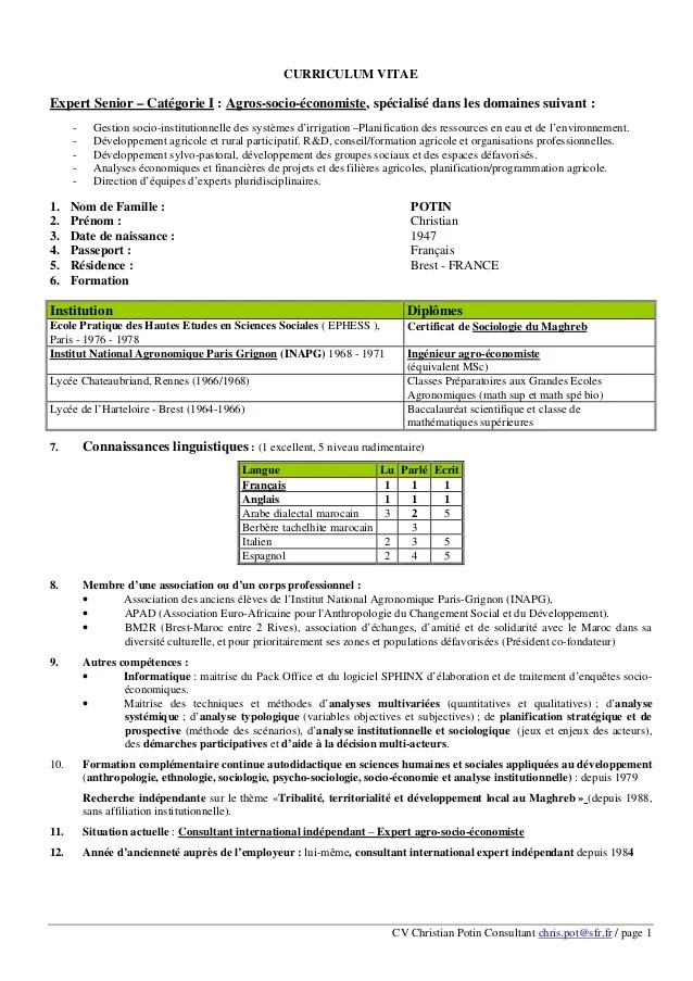 exemple cv ingenieur agro