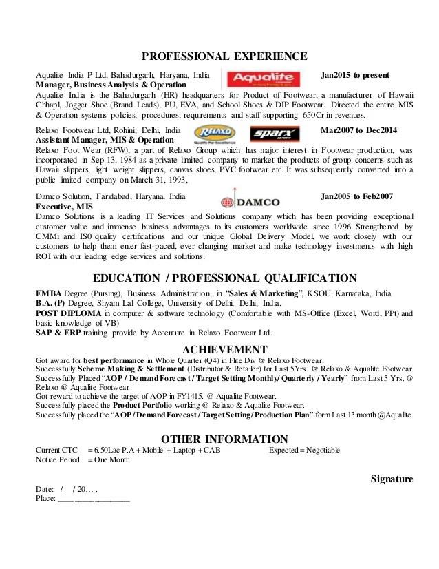 Resume Of Mis Executive downloadable mis executive resume sample