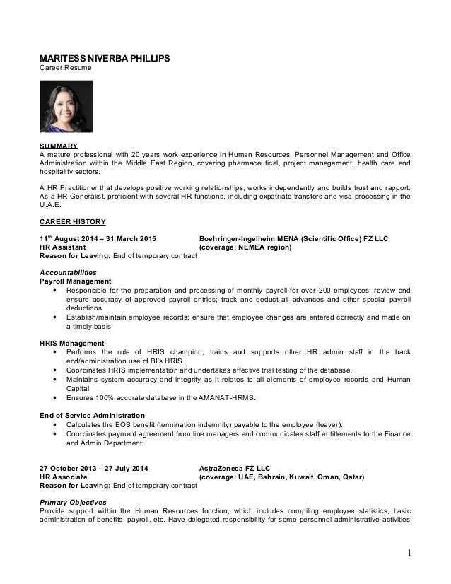 cv hr and payroll assistant