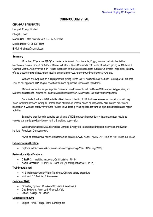piping inspector resume sample