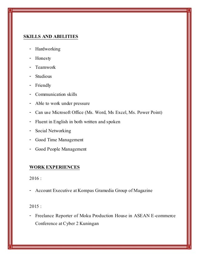 experiences employee commerce cv
