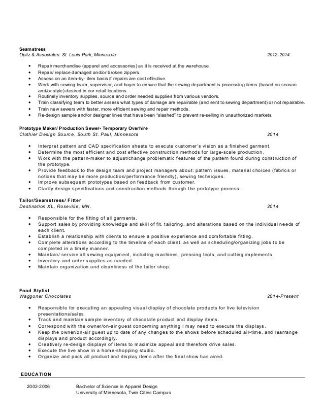 seamstress resume chelseafloraspencer resumejpg seamstress