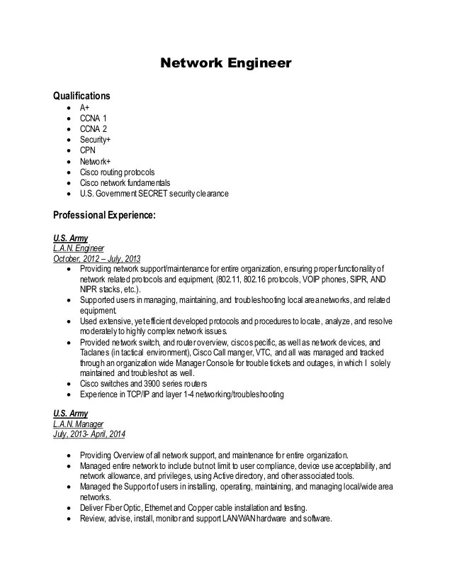 cisco network engineer resume - Ozilalmanoof - sample network engineer resume
