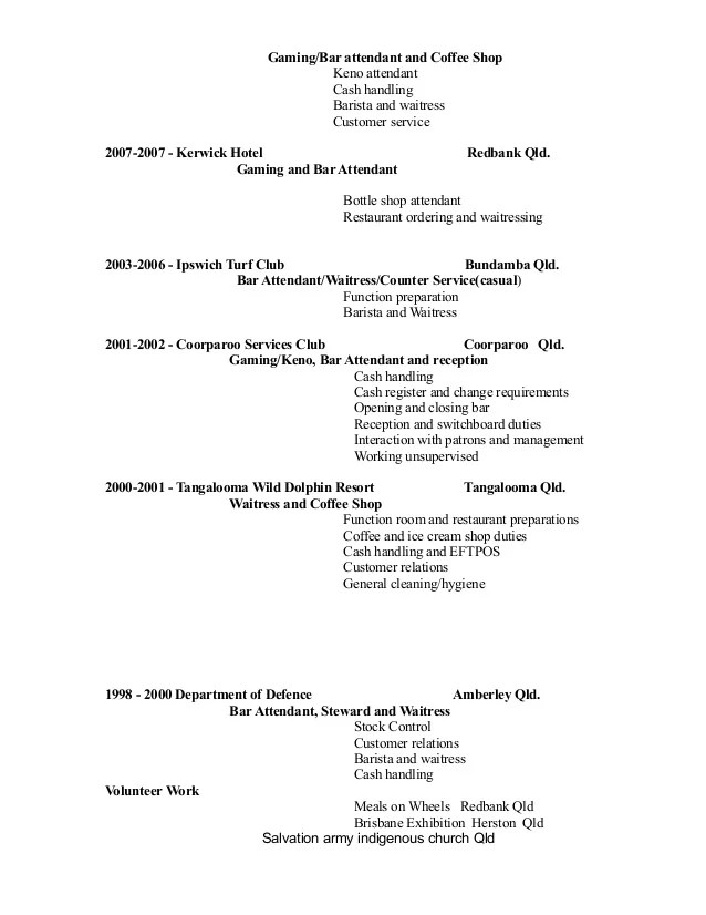 bar and gaming attendant resume sample
