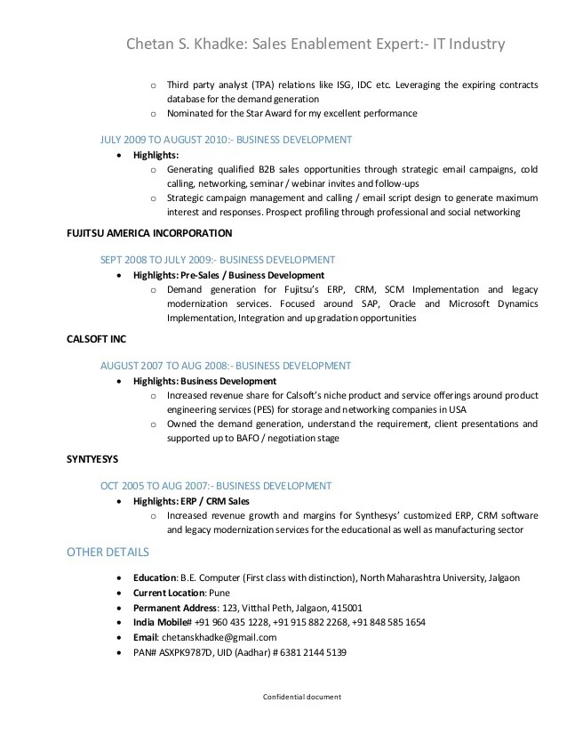 sales enablement resume example