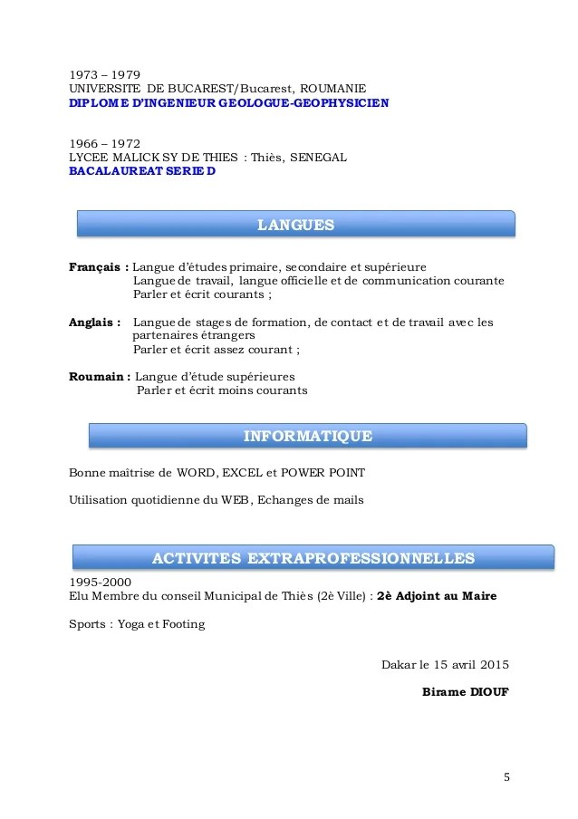 langue courante cv