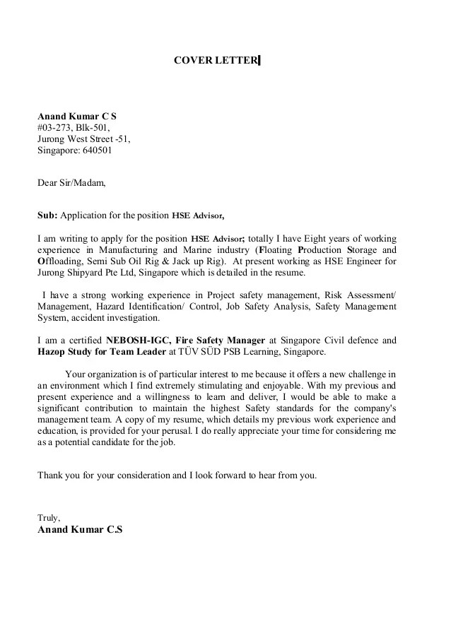 Resume Cover Letter Sample Singapore - Resume Examples ...
