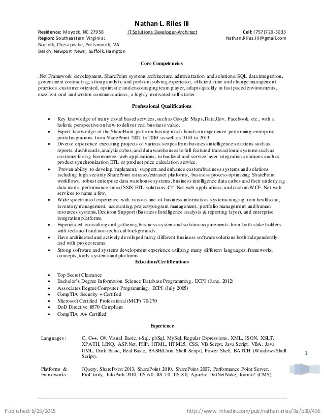 dot net architect resume - Romeolandinez
