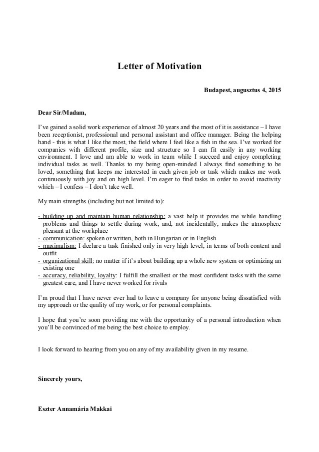 How To Write A Motivation Letter Think Scholarships Letter Of Motivation 2015