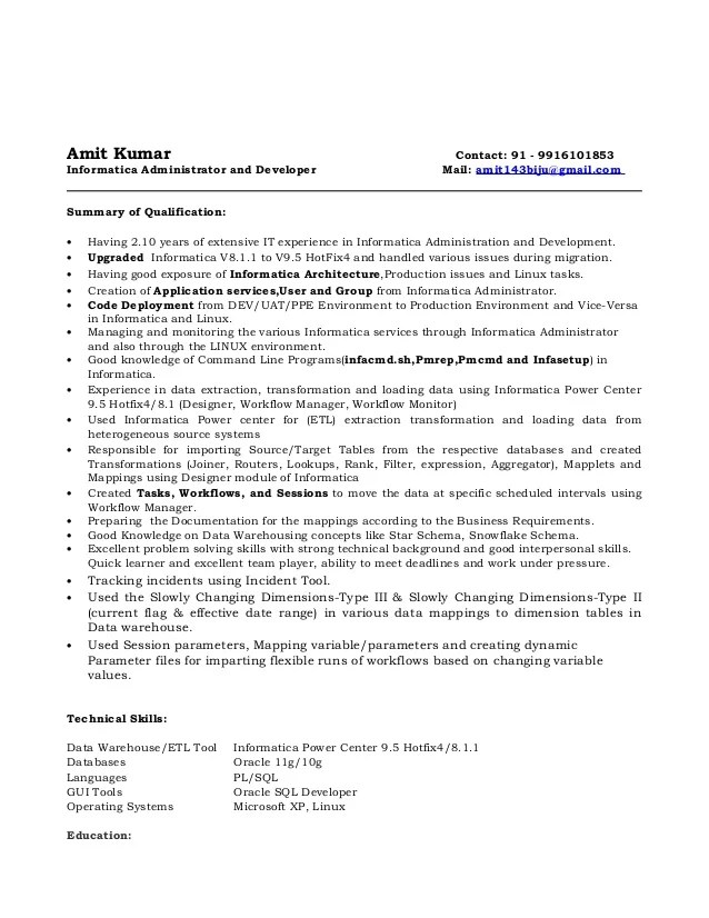 Informatica Administrator Sample Resume informatica sample resumes
