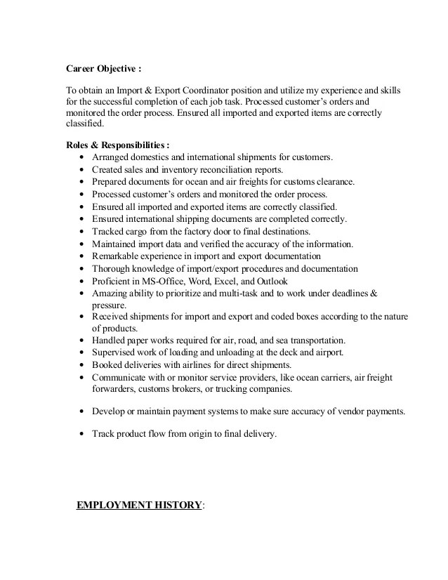 import coordinator resumes