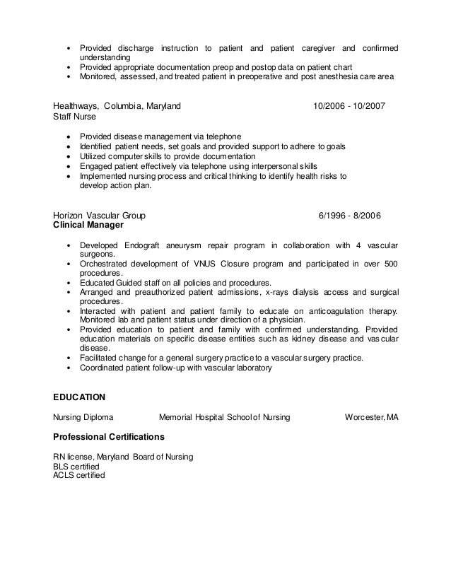 nurse anesthesia resume sample