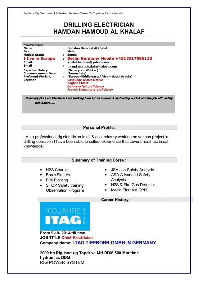 rig electrician resumes - Goalgoodwinmetals - rig electrician resume